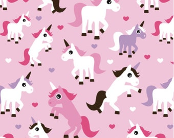 Unicorn Fabric - Pink Unicorn Horse Love Pink Girls Fabric By Little Smile Makers - Unicorn Fabric with Spoonflower- By the Yard