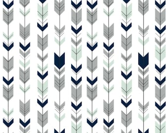 Fletching Arrows Fabric - Fletching Arrows Northern Lights White Fabric By Little Arrow Design - Cotton Fabric By The Yard with Spoonflower