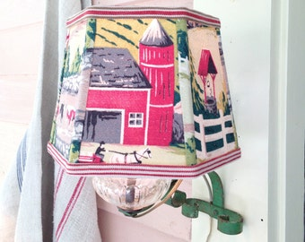 """Farm Lamp Shade Country Lampshade in Bark Cloth Vintage Fabric - Camp Decor - Green and Red Lampshade - 6""""top x 8"""" bottom x 6"""" high clip on"""