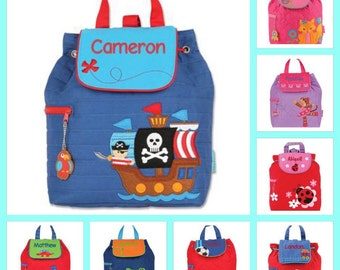 Stephen joseph backpack , toddler back back , preschool backpack , quilted backpack , personalized backpack, PIRATE BACKPACK