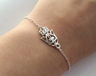 Hamsa Hand Bracelet - Small Hand of Fatima Bracelet - Hamsa Hand Bracelet in Sterling Silver - Adjustable Talisman Bracelet