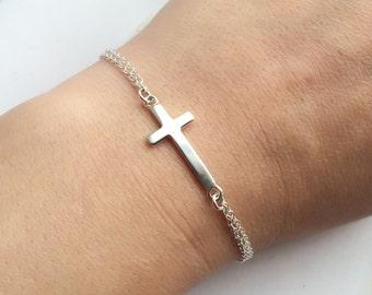 Cross Bracelet - Adjustable Sterling Silver Sideways Cross Bracelet