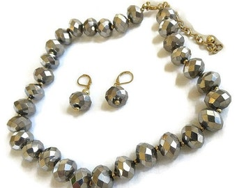Vintage Swarovski Silver Argent Crystal Beads Necklace and Earrings Demi Parure Set