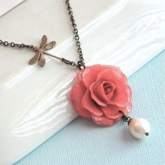 Real Flower Jewelry - Preserved Rose Necklace Pink  Brass Dragonfly  Pearl Teardrop