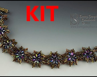Try-a-Tri Bead gold colors Beadwoven Bracelet Kit- full kit or refill beads