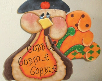 Thanksgiving, Turkey, Thanksgiving Door Decor,Holiday Decor,Whimsy Tole Painted Wood,Tole Painted Turkey,Whimsy Door Decor,Turkey Decor