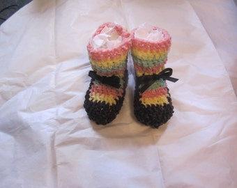 Baby Girl MaryJane Booties Party Shoes Newborn gift Shower  Ultra Soft  Chenille Pink Yellow Green Striped Sox Black Shoes Satin Ribbon