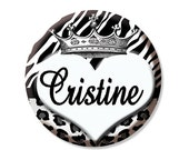 """50% OFF - Pocket Mirror, Magnet or Pinback Button - Party Favors 2.25"""" -  Personalized Name Crown Heart Print MR135"""