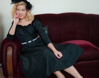 Vintage 1950s Dress - Black Silk Taffeta 50s Cocktail Dress with Velvet Trimmed Neckline and V Back with Full Skirt