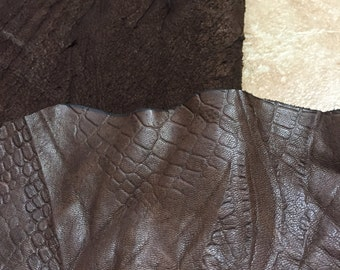 Gorgeous smokey darkish brown with a design lambskin leather - a 5 plus square foot cutting