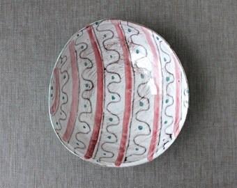 Danish Modern Pottery Bowl, Easter Egg Pattern, Ceramic Bowl RAS Denmark