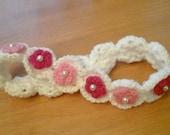 Newborn Headband,  Shell Stitch with Tiny Beaded Flowers Embellishment.   Custom order also available.