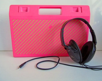 Retro Cassette Tape Storage Box | Vintage 1980's Hot Pink Case | Neon Pink and Green Storage Container