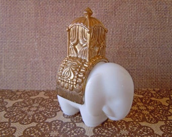 Vintage 1970's White Milk Glass Royal Elephant Avon Bottle Perfume Bottle Decanter Empty