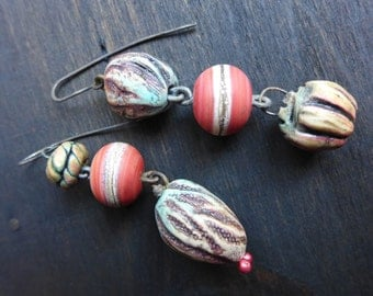 Mutagenic Symbiont. Colorful art bead earrings.