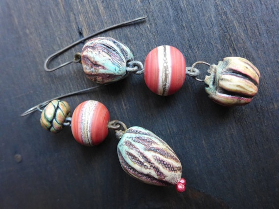 Mutagenic Symbiont. Colorful art bead earrings.