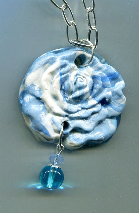 flower clay rose necklace flower pendant blue necklace clay jewelry flower charm chain necklaces jewellery handmade USA #jewls5020