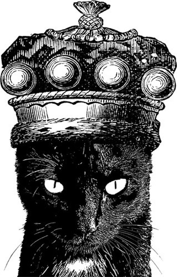 black cat wearing kings crown clipart PNG clip art Digital Image graphics Download digi stamp printable art pets animal digital stamp