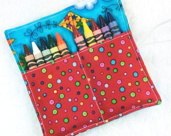 CUSTOM mini crayon roll, PICK fabrics, kids roll up crayon wallet, artist coloring case, crayon holder, girl boy child toddler party favor