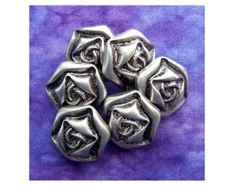 Silver Rose Buttons, 22mm 7/8 inch - Metallic Silver Tone Plastic Flower Buttons - 6 VTG Carved Silver Roses Hexagonal Shaped Shanks PL512