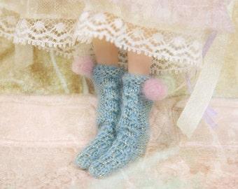jiajiadoll- Hand Knit- Flowers First love shinning blue twist pompom socks fits momoko- blythe -Misaki- Unoa light- Lati yellow