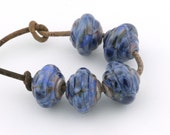Baroque Blue Grey Handmade Glass Lampwork Beads (5 Count) by Pink Beach Studios (1209)