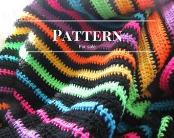 Striped afghan pattern, Easy crochet blanket pattern