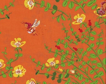 SALE. Heather Ross Briar Rose Nanny Bee in Tangerine orange