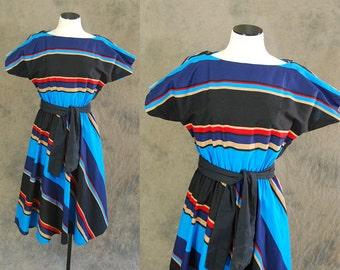 vintage 80s Dress - 1980s Striped Cotton Dress Sz S M