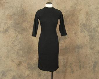 CLEARANCE vintage 50s Wiggle Dress - 1950s Black Wool Jersey Wiggle Dress Knit Turtleneck Sweater Dress Sz S