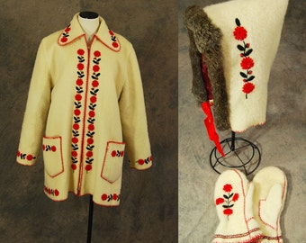 vintage 40s Hooded Coat -  Bavarian Folk Embroidered Coat 1940s Austrian Tyrolean Wool Coat Hat and Gloves Set Sz L XL