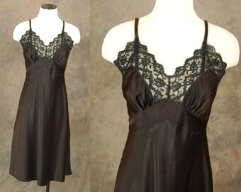 vintage 40s Slip - Lacy Dark Brown Full Satin Slip Dress 1940s Lingerie Sz M