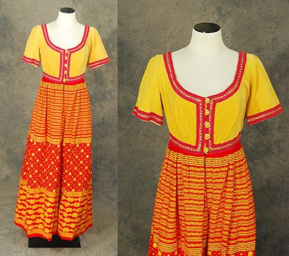 Maxi dress 1970s yellow