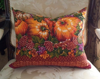 Rustic Pillow Covers, Autumn Throw Pillows, Country Cushions, Pumpkins, Repurposed, Eco Friendly, Cabin Decor, Lumbar Oblong 14x20, 16x20