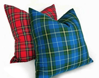 Blue Plaid Pillow Cover, Christmas in July Pillow, Tartan Plaid Cushion, Blue Green Plaid Pillows, 10x16, 18, 20, 22, 24, Christmas Decor