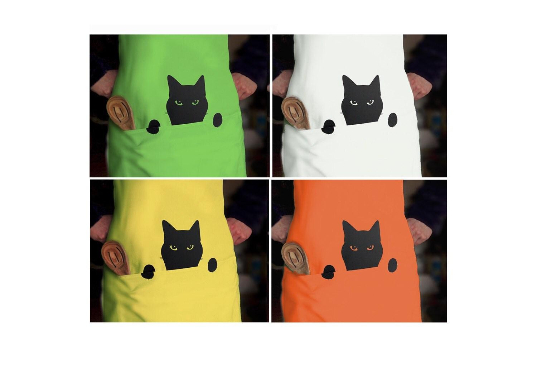 Cat Apron, Peeping Tom Cat Pinny, Kitchen Chef's Cotton Full Apron