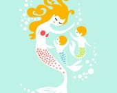 "5X7"" mermaid mother and twin baby boys. giclee print on fine art paper. aqua blue, pink, green, blonde."
