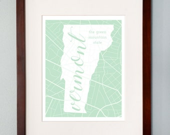 Vermont State Map Print - 8x10 Wall Art - Vermont State Nickname - Typography - Housewarming Gift