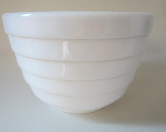 Vintage White Milk Glass Mixing Bowl Ribbed Pattern