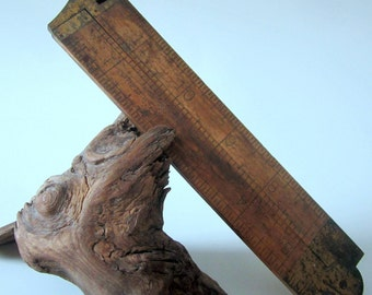 "Vintage Stanley 12"" Wood Ruler Boxwood Handle Tool Hinge Brass Caliper USA # 36 1/2 L Rare"