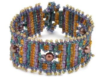 Tutorial Bead Jewelry PDF Pattern, Triangles Squared Bracelet