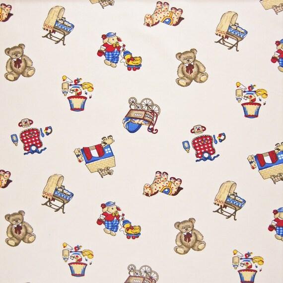 Cream baby fabric in the nursery cotton fabric children for Retro nursery fabric