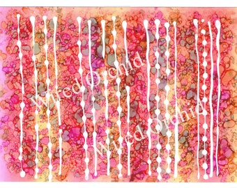 Tropical Stripes Laser Copy of Original Alcohol Ink Artwork / Hot Pink, Orange and Yellow Abstract Design
