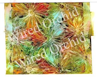 Tropical Bouquet Laser Copy of Original Alcohol Ink Artwork / Dark Orange, Green, Blue, Yellow Abstract Design