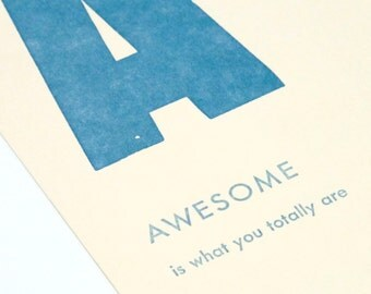 awesome - letterpress printed flashcard notecard