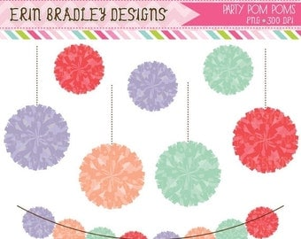 60% OFF SALE Party Poms Clip Art Bunting Graphics Instant Download Pom Pom Clipart Personal & Commercial Use