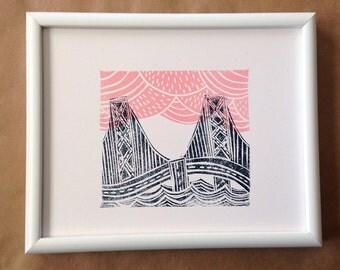 San Francisco Bay Bridge with Pink Clouds 8x10 Art Print