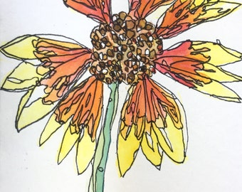 Wildflower Painting: Mexican Blanket (Scraggly) a 5x7 original watercolor by Nan Henke