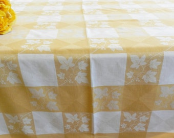 Simtex Tablecloth, Gold Checkered Simtex Tablecloth, Ivy Leaves Tablecloth, Retro Tablecloth