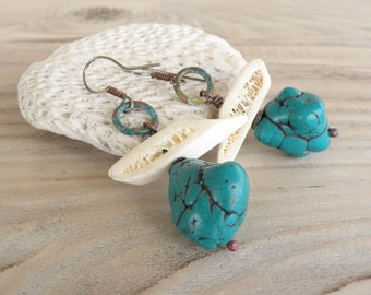 Chunky Boho Earrings, Bone and Turquoise Magnesite Nuggets, Rustic Copper Earrings, Niobium Ear Wires